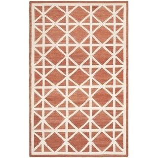 Safavieh Handwoven Moroccan Dhurrie Red/ Ivory Geometric Wool Rug (9' x 12')