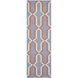 Safavieh Hand-woven Moroccan Reversible Dhurrie Purple Wool Rug (2'6 x 10')