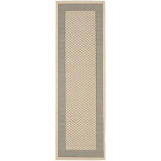 Safavieh Indoor/ Outdoor Courtyard Grey/ Cream Rug (2'4 x 12')