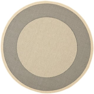Safavieh Indoor/ Outdoor Courtyard Grey/ Cream Rug (7'10 Round)