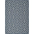 Safavieh Geometric Indoor/Outdoor Courtyard Navy/Beige Rug (8' x 11')