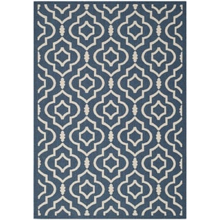 Safavieh Abstract Indoor/Outdoor Courtyard Navy/Beige Rug (9' x 12')