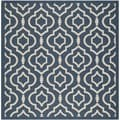 Safavieh Indoor/ Outdoor Courtyard Navy/ Beige Polypropylene Rug (6'7 Square)