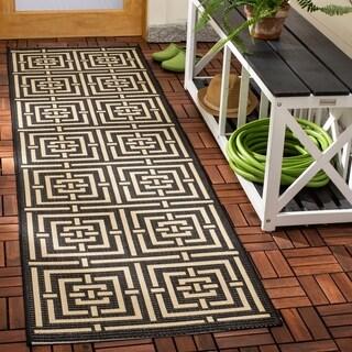 Safavieh Indoor/ Outdoor Courtyard Black/ Bone Rug (2'3 x 8')