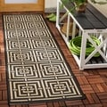 Safavieh Indoor/ Outdoor Courtyard Black/ Bone Rug (2'3 x 8')
