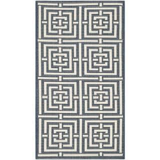 Safavieh Patterned Indoor/Outdoor Courtyard Navy/Beige Rug (2'7 x 5')