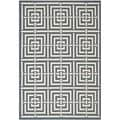 Safavieh Geometric Indoor/Outdoor Courtyard Navy/Beige Rug (6'7 x 9'6)