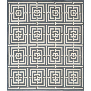 Safavieh Geometric Indoor/Outdoor Courtyard Navy/Beige Rug (9' x 12')