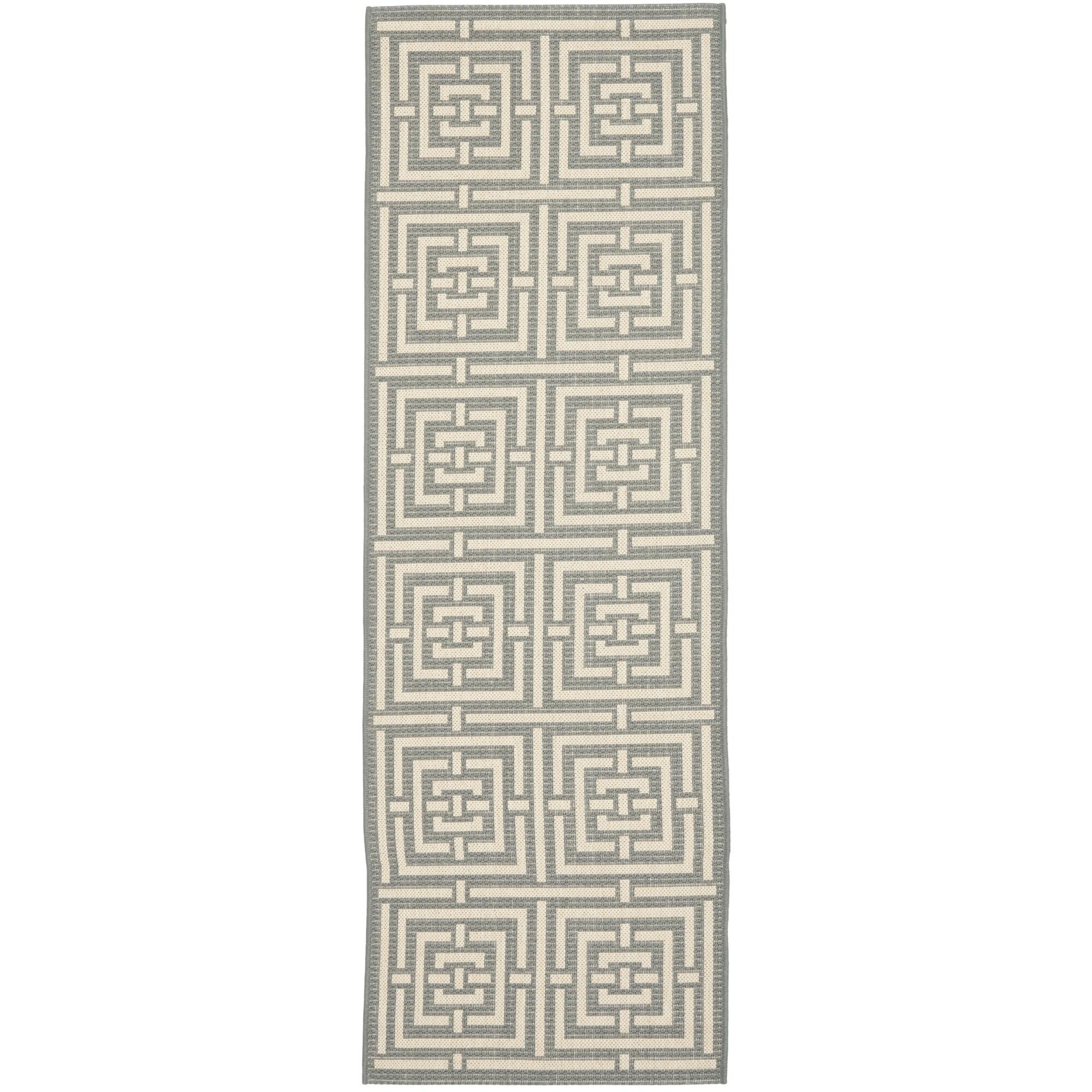 Safavieh Indoor/ Outdoor Courtyard Grey/ Cream Rug (2'3 x 16')