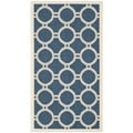 Safavieh Contemporary Indoor/Outdoor Courtyard Navy/Beige Rug (2'7 x 5')