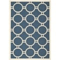 Safavieh Polypropylene Indoor/Outdoor Courtyard Navy/Beige Rug (4' x 5'7)