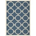 Safavieh Patterned Indoor/Outdoor Courtyard Navy/Beige Rug (6'7 x 9'6)