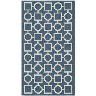 Safavieh Patterned Indoor/Outdoor Courtyard Navy/Beige Rug (2' x 3'7)