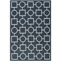 Safavieh Patterned Indoor/Outdoor Courtyard Navy/Beige Rug (4' x 5'7)