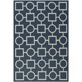 Safavieh Geometric Indoor/Outdoor Courtyard Navy/Beige Rug (5'3 x 7'7)