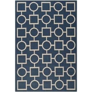 Safavieh Abstract Indoor/Outdoor Courtyard Navy/Beige Rug (8' x 11')