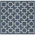 Safavieh Abstract Indoor/Outdoor Courtyard Navy/Beige Rug (6'7 Square)