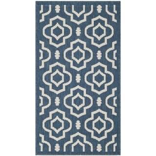 Safavieh Abstract Indoor/Outdoor Courtyard Navy/Beige Rug (2' x 3'7)