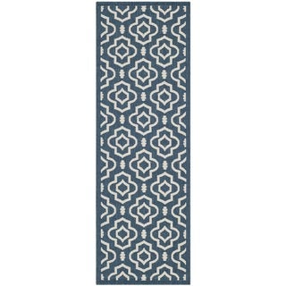 Safavieh Abstract Indoor/Outdoor Courtyard Navy/Beige Runner Rug (2'3 x 6'7)