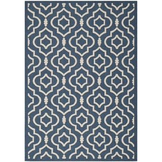Safavieh Floral Indoor/Outdoor Courtyard Navy/Beige Rug (4' x 5'7)