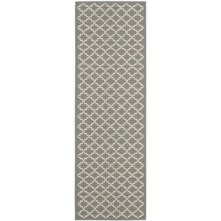 Safavieh Indoor/ Outdoor Courtyard Anthracite/ Beige Rug (2'3 x 8')