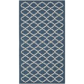 Safavieh Polypropylene Indoor/Outdoor Courtyard Navy/Beige Rug (2' x 3'7)