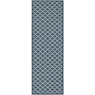 Safavieh Latex-Free Indoor/Outdoor Courtyard Navy/Beige Rug (2'3 x 10')