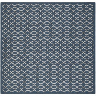 Safavieh Indoor/Outdoor Courtyard Navy/Beige Area Rug (6'7 Square)