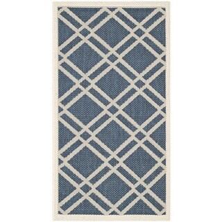 Safavieh Diamond-Pattern Indoor/Outdoor Courtyard Navy/Beige Rug (2' x 3'7)