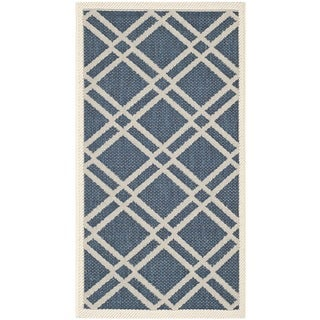 Safavieh Diamond-Patterned Indoor/Outdoor Courtyard Navy/Beige Rug (2'7 x 5')