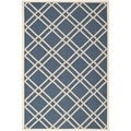 Safavieh Diamond-Pattern Indoor/Outdoor Courtyard Navy/Beige Rug (5'3 x 7'7)