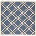 Safavieh Indoor/Outdoor Diamond-Pattern Courtyard Navy/Beige Rug (6'7 Square)