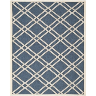 Safavieh Indoor/Outdoor Courtyard Navy/Beige Area Rug (8' x 11')