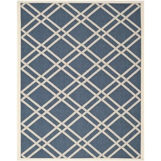 Safavieh Diamond-Patterned Indoor/Outdoor Courtyard Navy/Beige Rug (9' x 12')