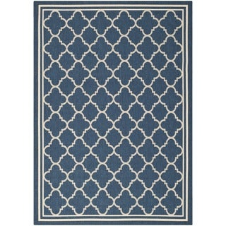 Safavieh Dhurrie Indoor/Outdoor Courtyard Navy/Beige Rug (9' x 12')
