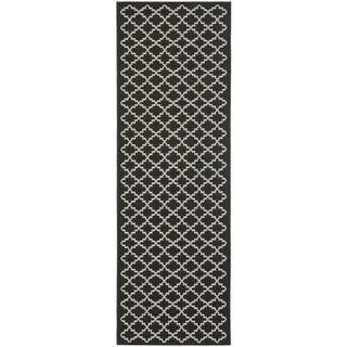 Safavieh Indoor/ Outdoor Courtyard Black/ Beige Rug (2'4 x 14')