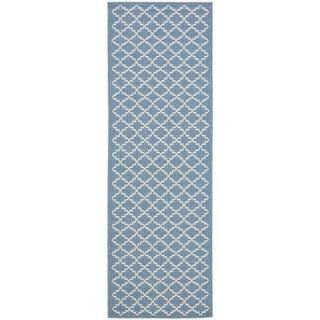 Safavieh Indoor/ Outdoor Courtyard Blue/ Beige Rug (2'3 x 20')