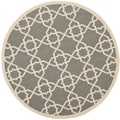 Safavieh Indoor/Outdoor Courtyard Gray/Beige Geometric Rug (7'10 Round)