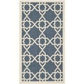 Safavieh Moroccan Indoor/Outdoor Courtyard Navy/Beige Accent Rug (2' x 3'7)