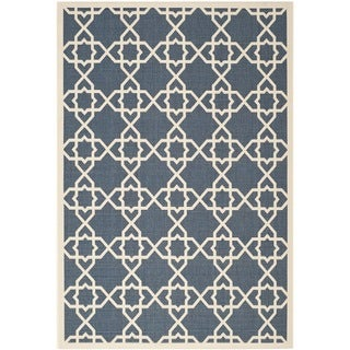 Safavieh Moroccan Indoor/Outdoor Courtyard Navy/Beige Rug (6'7 x 9'6)