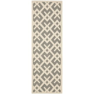 Safavieh Indoor/ Outdoor Courtyard Grey/ Bone Rug (2'3 x 8')