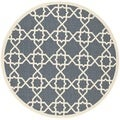 Safavieh Courtyard Navy/Beige Indoo/Outdoor Geometric Pattern Rug (6'7 Round)