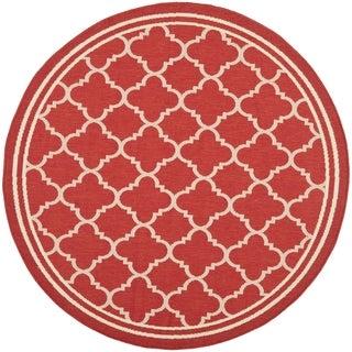 Safavieh Indoor/ Outdoor Courtyard Red/ Bone Geometric Rug (7'10 Round)