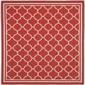 Safavieh Indoor/ Outdoor Courtyard Red/ Bone Rug (5'3 Square)
