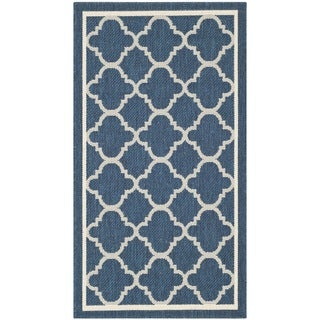 Safavieh Dhurrie Indoor/Outdoor Courtyard Navy/Beige Rug (2' x 3'7)