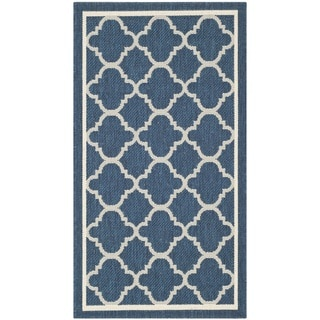 Safavieh Indoor/Outdoor Courtyard Navy/Beige Dhurrie Rug (2'7 x 5')