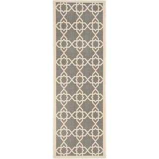 "Safavieh Contemporary Indoor/Outdoor Courtyard Gray/Beige Rug (2'3"" x 12')"