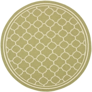 Safavieh Indoor/ Outdoor Courtyard Green/ Beige Rug (7'10 Round)