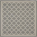 "Contemporary Safavieh Indoor/ Outdoor Courtyard Anthracite/ Beige Geometric-Patterned Rug (7'10"" Square)"