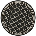 Safavieh Indoor/Outdoor Courtyard Black/Beige Transitional Rug (7'10 Round)